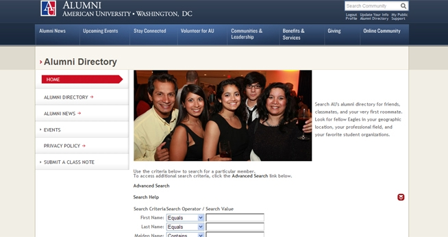 Alumni Directory Page